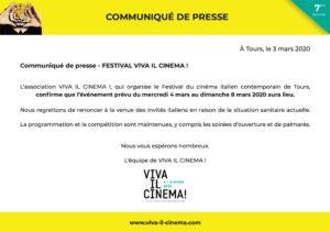 Communiqué Viva il cinema 2020